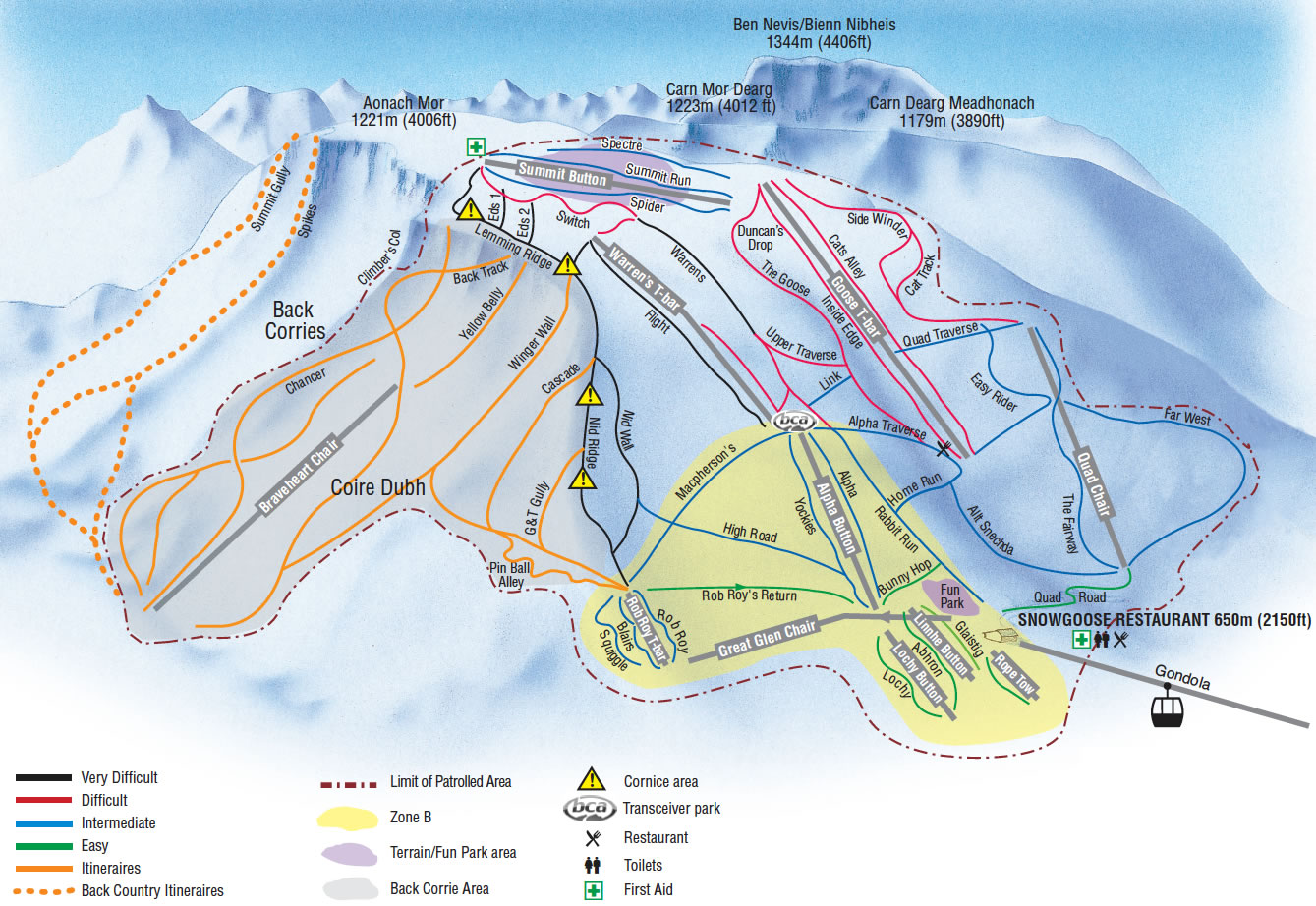 Piste Map Stats Nevis Range - Terrain map uk