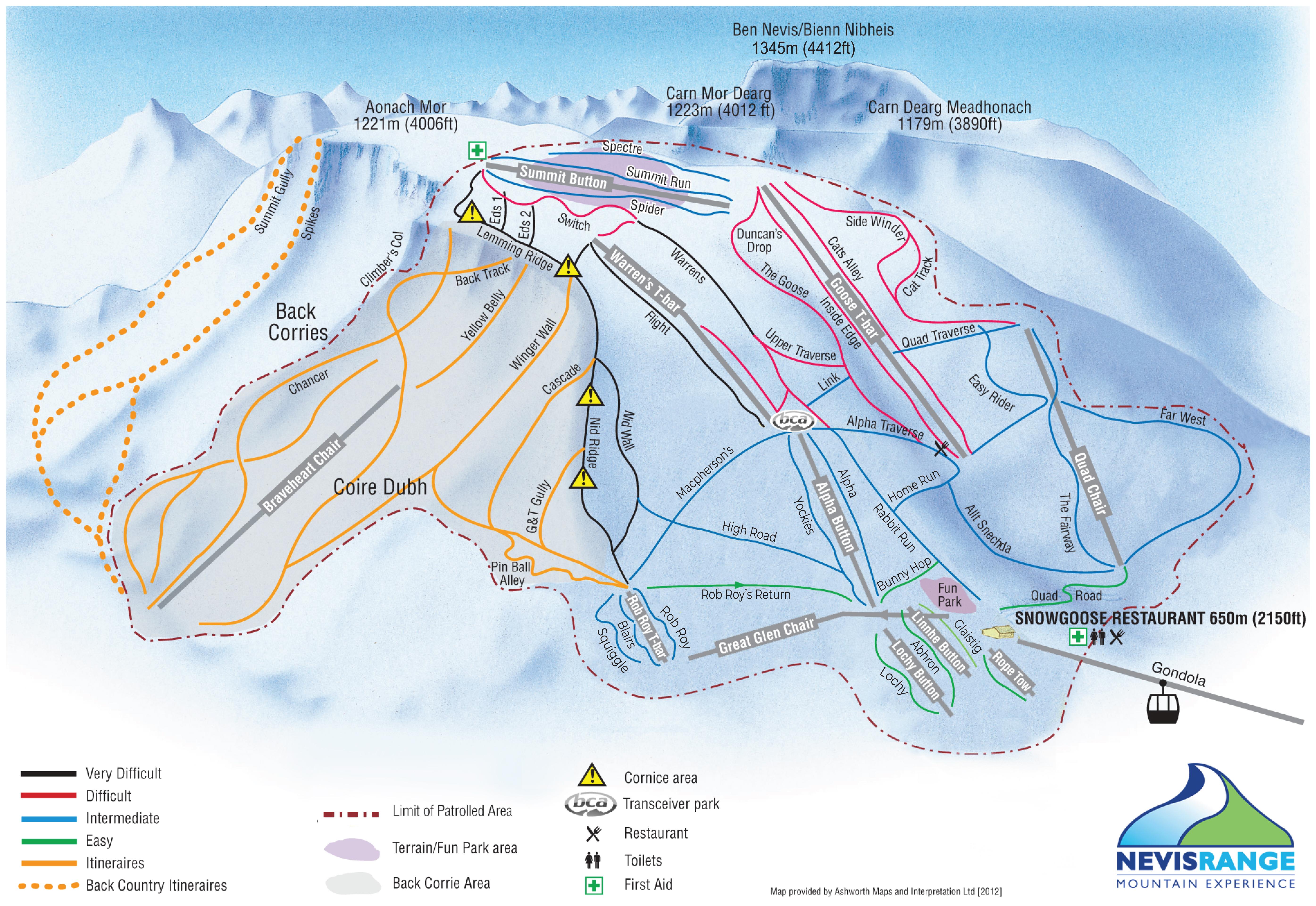 Fort Williams Scotland Map.Ski Board At Nevis Range